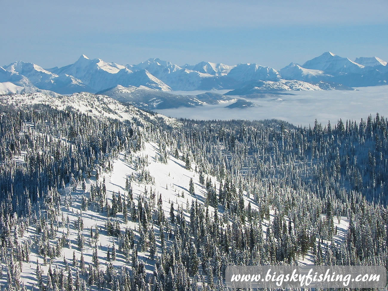 View from the summit during an inversion at whitefish mountain for Whitefish montana fishing