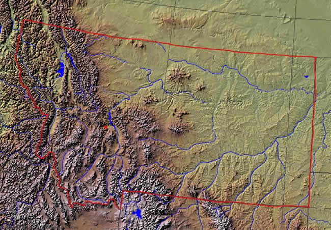 Montana Maps Shaded Relief Map Of Montana - Montana maps