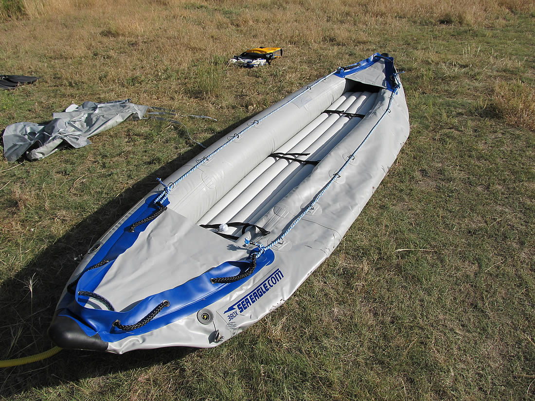 Floor and one pontoon fully inflated on the kayak