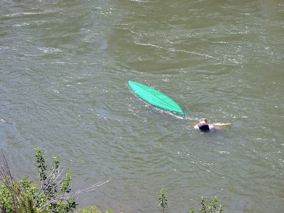 Capsized Canoe on the Blackfoot River in Montana