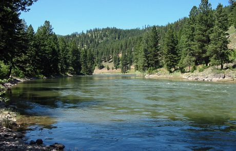 The Blackfoot River in Montana at Thibodeau Bridge Fishing Access Site