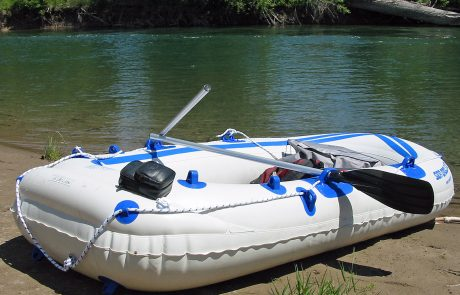 My Sea Eagle raft on a Flathead River Beach