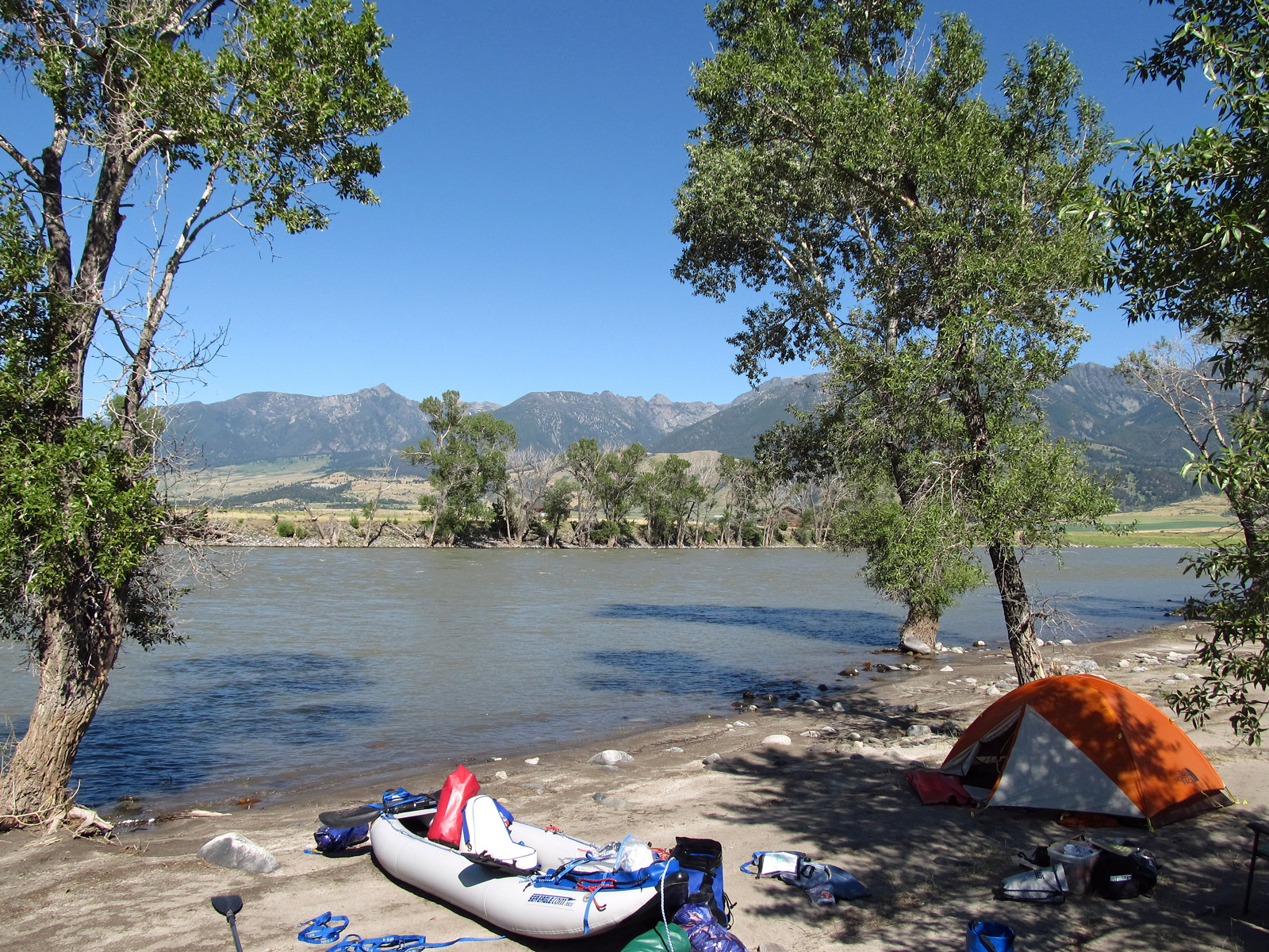 Camped along the Yellowstone River at Mallard's Rest Fishing Access Site
