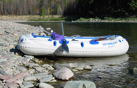 Sea Eagle Motormount Raft About to Launch on the North Fork Flathead River
