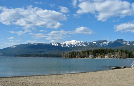 Whitefish Lake Seen from the City Beach in Whitefish, Montana