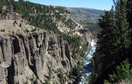 Yellowstone River Runs Through Deep Canyons