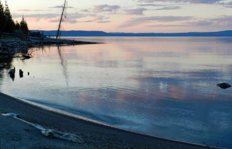 Colorful Sunrise over Yellowstone Lake