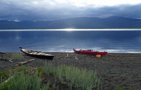 Kayaks along Yellowstone Lake